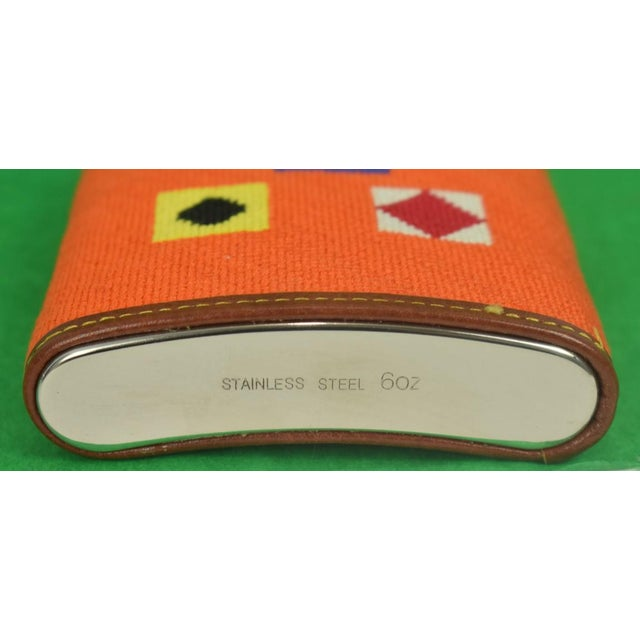 Contemporary Needlepoint Signal Flag 6 Oz Flask For Sale - Image 3 of 6