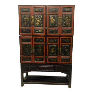 1920s Korean 5 Piece Modular Lacquer Cabinet For Sale