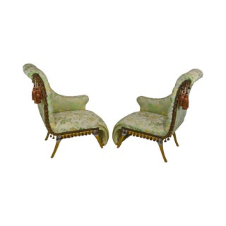 French Louis XV Style Vintage Pair Silver Gilt Recaimer's Small Chaise Lounges For Sale