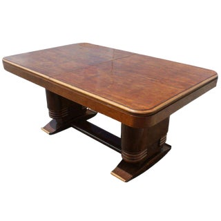 French Art Deco Wooden Dining Table For Sale