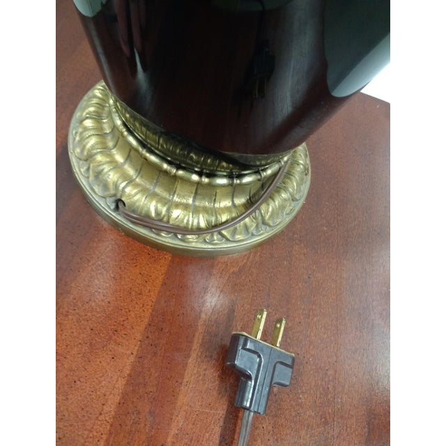1920s Antique Black Glass & Brass Table Lamp With Lamp Shade For Sale - Image 5 of 8