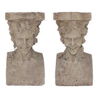 Late 19th Century Cast Stone Pedestals With Figural Bust and Foliate Design - a Pair For Sale