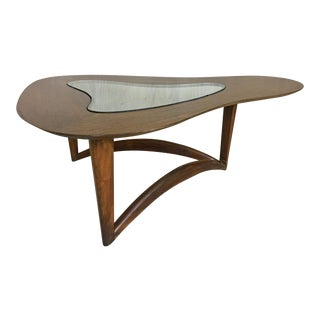 Biomorphic Walnut Coffee Table With Glass Insert