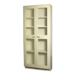 Industrial Metal 36 Inch Wide Display Cabinet or Bookcase With Glass Doors For Sale