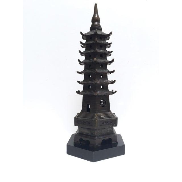 Vintage Metal Pagoda Figurine on Wood Base - Image 7 of 9