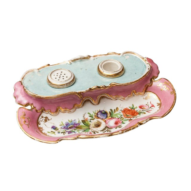 19th Century French Porcelain Inkstand With Ink Pot and Sander For Sale