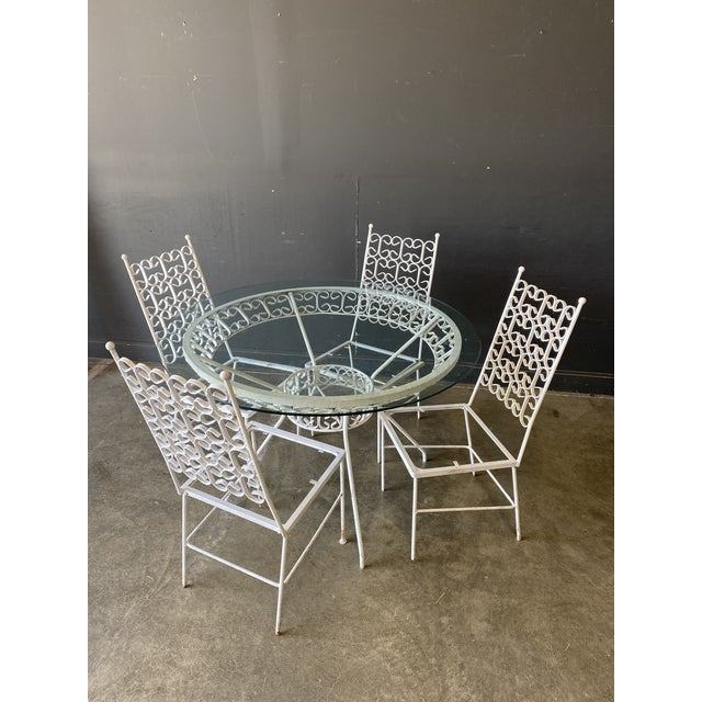 Mid Century Modern Arthur Umanoff Iron Patio Table & 4 Chairs For Sale - Image 9 of 9