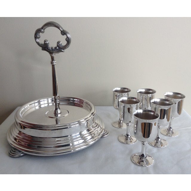 Metal Taunton Silver Cordials & Caddy Holder For Sale - Image 7 of 10