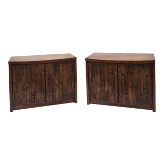 Vintage Brutalist Modern Lane Furniture Nightstands - a Pair