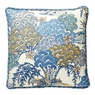 Sea of Trees Pillow with Trim in Green For Sale