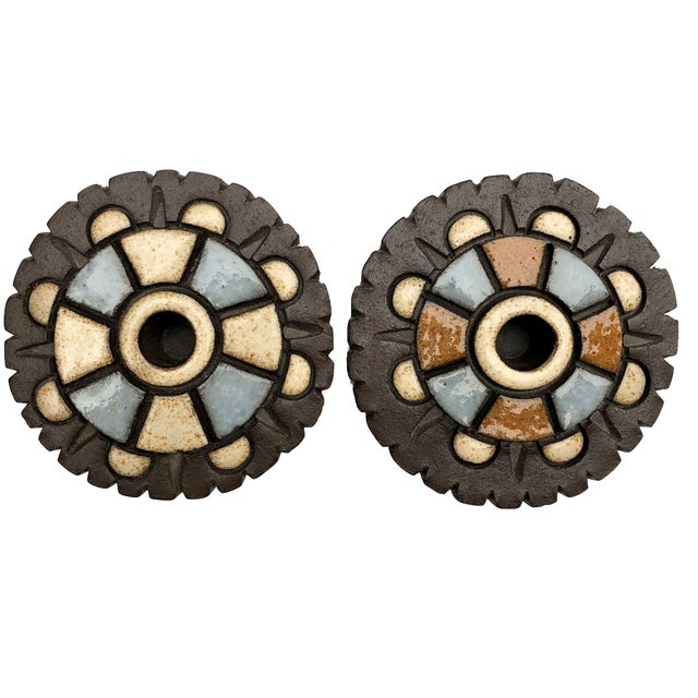 Clay 1960s Danish Modern Marianne Suda Geometric Ceramic Candleholders - a Pair For Sale - Image 7 of 7