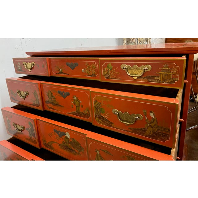 Wood Chinese Red Chinoiserie Chest of Drawers by Baker Furniture C.1970s For Sale - Image 7 of 11