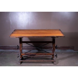 1900s Industrial Wood and Cast Iron Drafting Table Preview