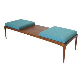 Lane Furniture Mid-Century Modern Long Upholstered Walnut Bench For Sale