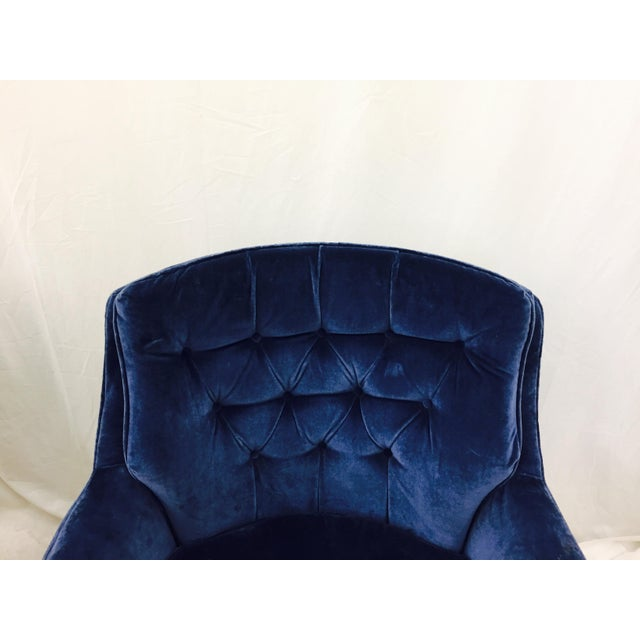 Navy Blue Velvet Club Chairs - a Pair - Image 4 of 8