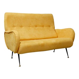 Italian MidCentury Sofa Sofa With Two Seats in Yellow Velvet, Zanuso Style 1950 For Sale