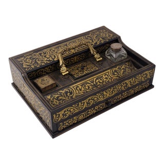 Circa 1880 Italian Napoleon III Inlaid Brass and Lacquered Mahogany Inkwell For Sale