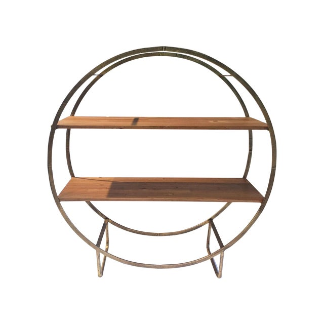 Two Tiered Bronze-Tone Circular Shelf - Image 1 of 4
