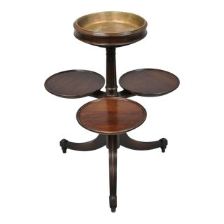 Antique Mahogany 2 Tier Georgian Style Plant Stand Side Table with Copper Dish For Sale