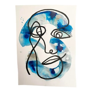 """""""Whats Her Face"""" Original Mixed Media Painitng on Paper in Blues For Sale"""