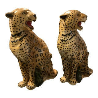 1950s Vintage Life Size Chalkware Leopards - A Pair For Sale