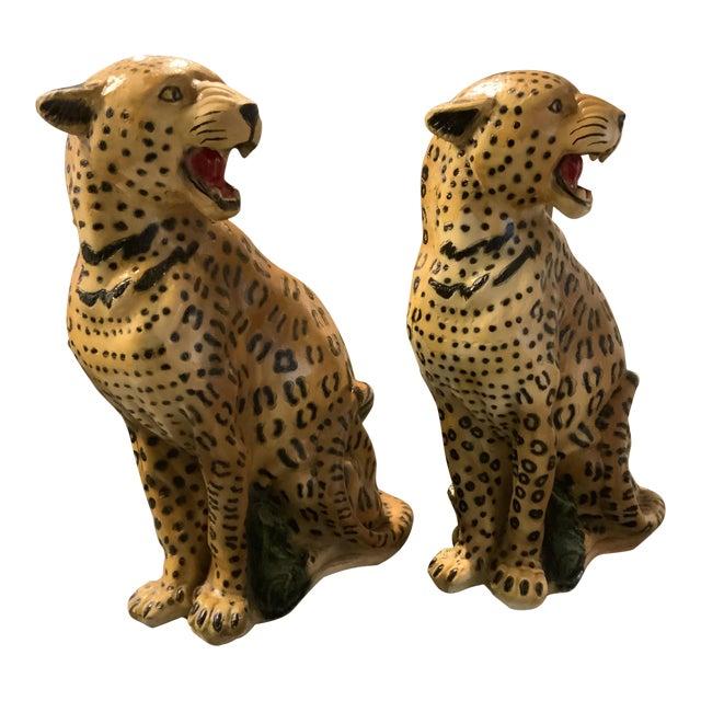 1950s Vintage Life Size Chalkware Leopards - A Pair For Sale