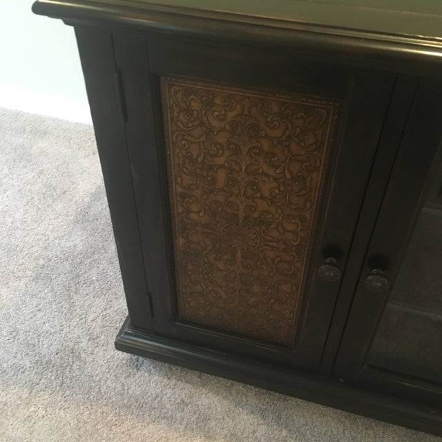 Gold Americana Wood and Brass Credenza/Media Cabinent For Sale - Image 8 of 13