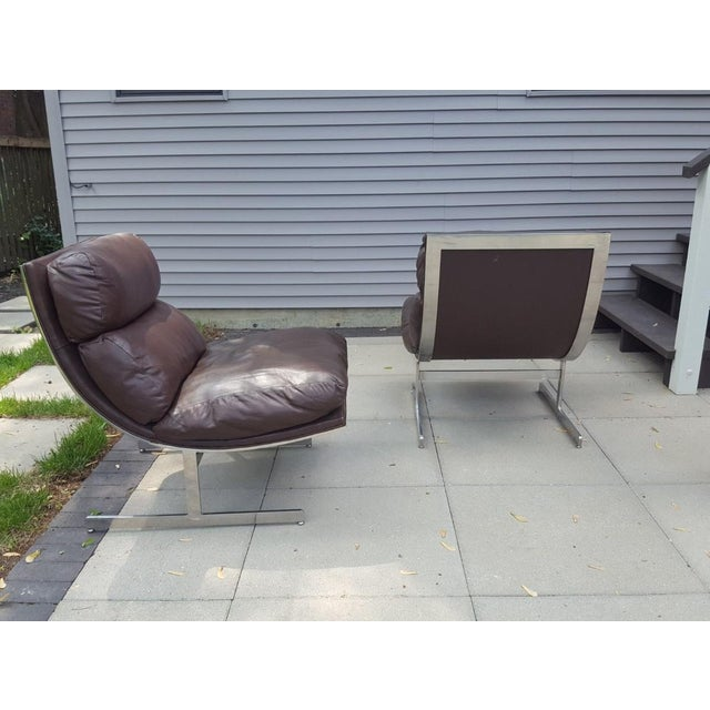 Directional Mid-Century Modern Kipp Stewart for Directional Chrome Lounge Chairs - A Pair For Sale - Image 4 of 11
