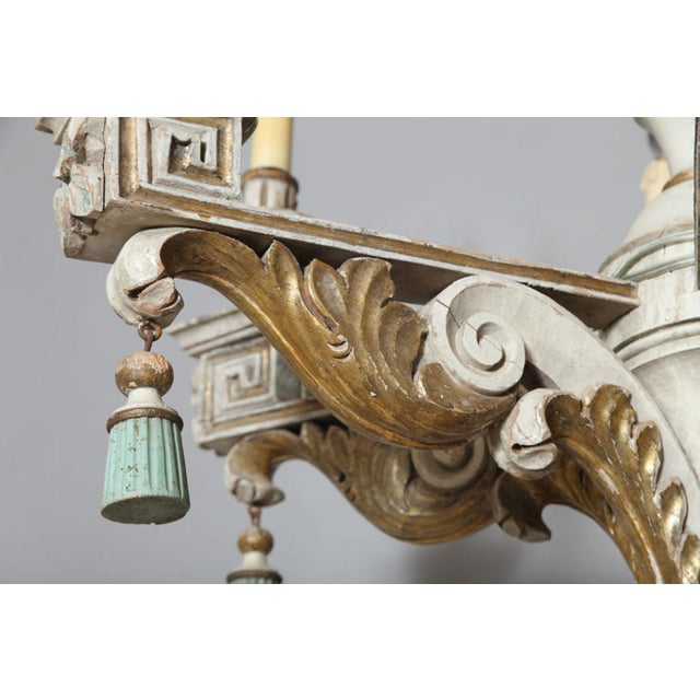 Wood Polychromed & Parcel Gilt 18th/19th Century Wooden Chandelier For Sale - Image 7 of 11