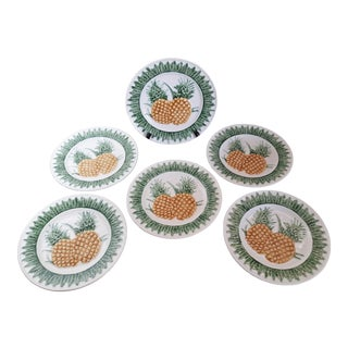 Late 20th Century Sur La Table Portugal Majolica Pineapple Embossed Salad/Luncheon/Desert Plates - Set of 6 For Sale