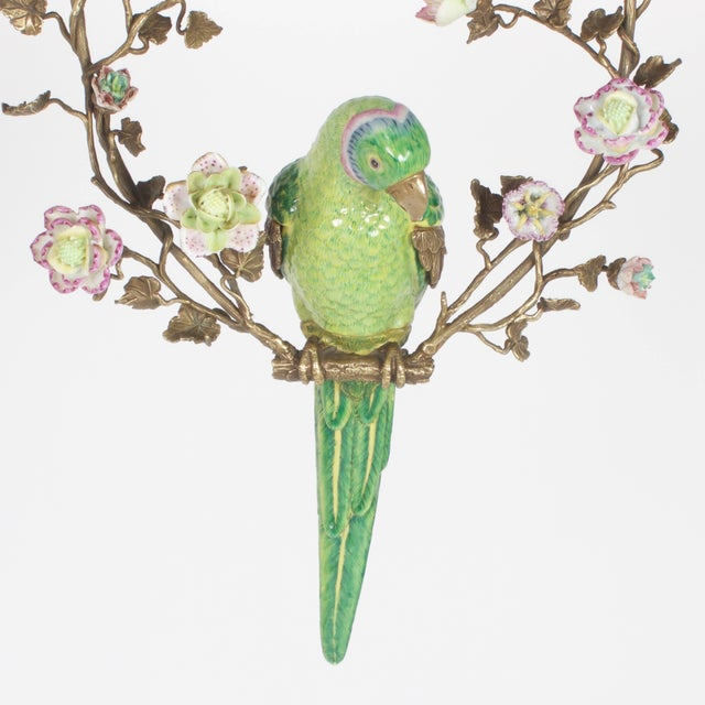Asian French Opposing Wall-Mounted Porcelain Parrots - a Pair For Sale - Image 3 of 10
