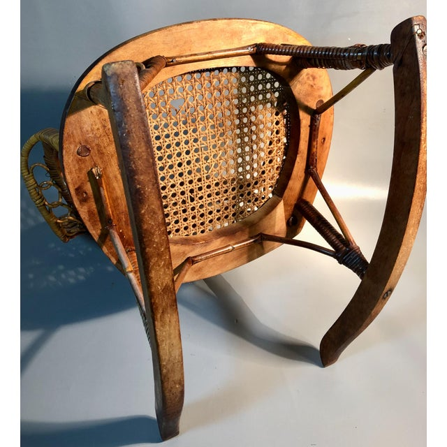 Late 19th Century C1860 Victorian Childs Rocking Chair Wicker Rattan Rocker Attrib. To Heywood Wakefield For Sale In Providence - Image 6 of 8