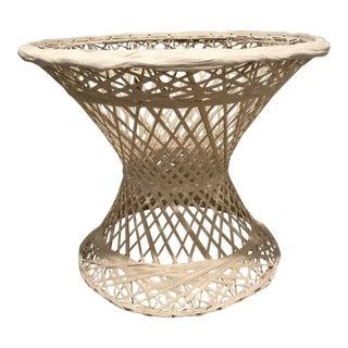 Vintage Boho Chic Woodard White Spun Fiberglass Side Table For Sale