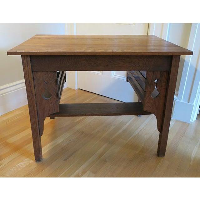 Antique Oak Mission Library Desk For Sale - Image 4 of 6 - Antique Oak Mission Library Desk Chairish
