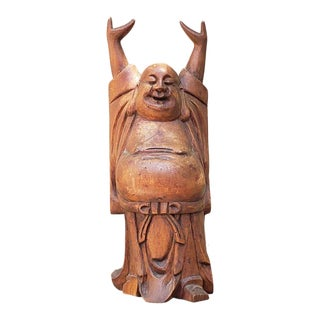 Vintage Early 20th Century Hand Carved Wood Happy Buddha Statue Hotei For Sale