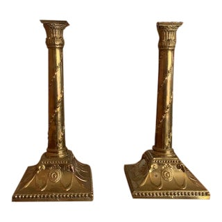 Baroque Style Brass Candlesticks - A Pair For Sale