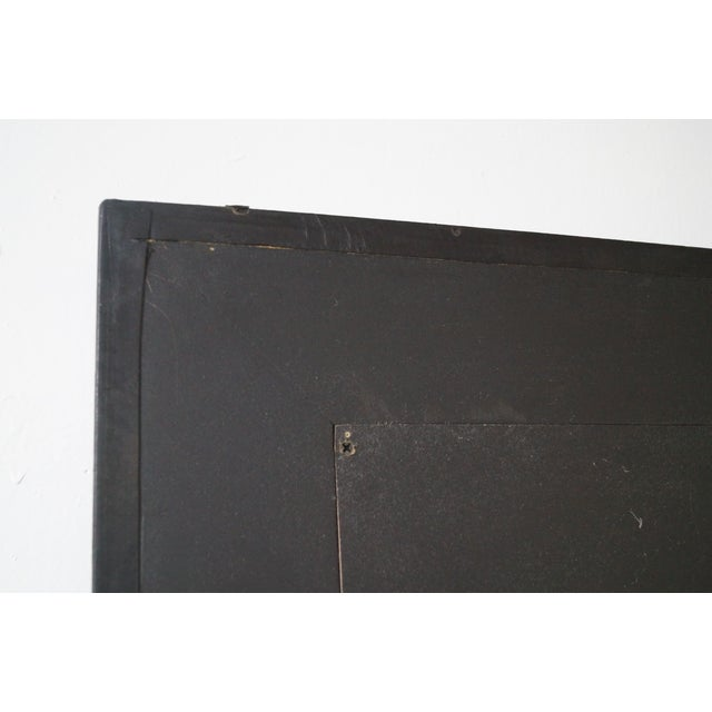 Rectangular Beveled Mirror with Faux Leather Frame For Sale - Image 4 of 10