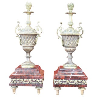 19th Century French Napoleon III Pair of Gilded Bronze Amphorae on a Marble Base For Sale