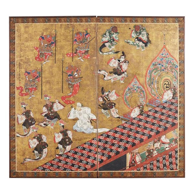 Japanese Edo Bugaku Imperial Court Dance Two-Panel Screen For Sale
