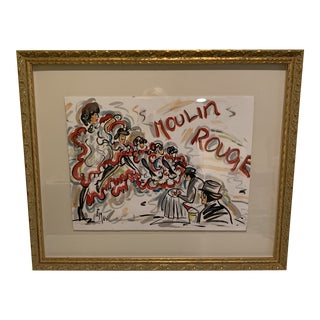 "French Vintage Original ""Moulin Rouge"" Watercolor Painting For Sale"
