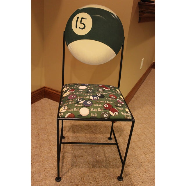 custom painted billiard chairs with iron frames set of 4 chairish