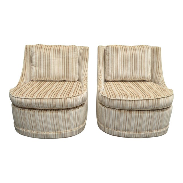 Vintage Mid-Century Modern Milo Baughman Style Tan Stripped Velvet Swivel Chairs - a Pair For Sale