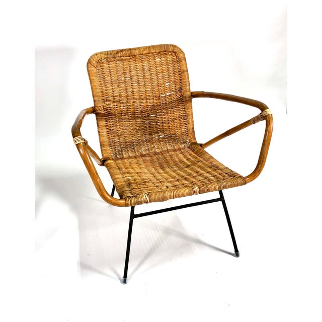Mid Century Italian Rattan Lounge Chair For Sale - Image 4 of 12