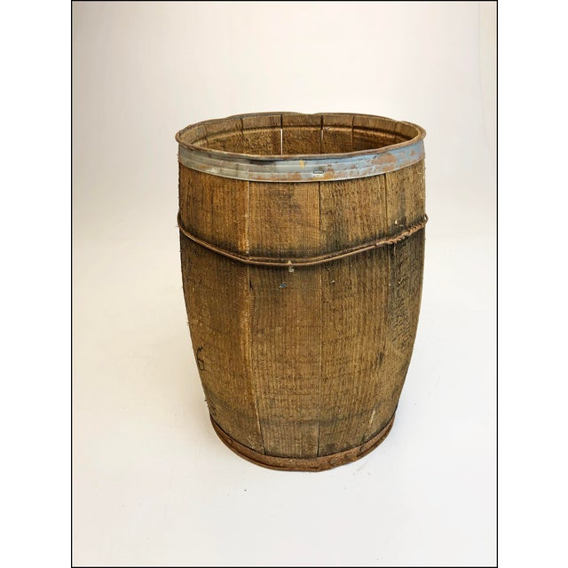 Wooden Nail Keg. Heavy construction with a primitive woodworking American feel. Carved wood slats come together with metal...