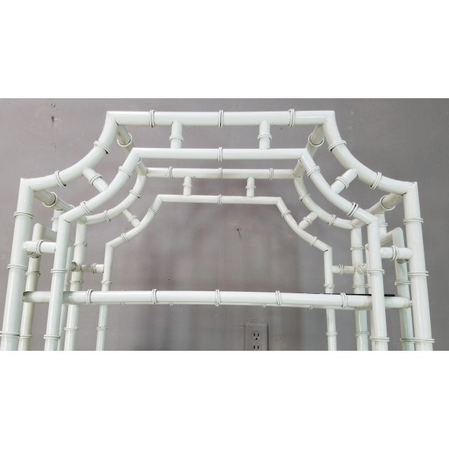 1950s Hollywood Regency White Metal Pagoda Faux Bamboo Etagere For Sale - Image 4 of 13
