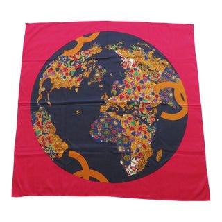 Vintage Chanel Bejeweled World Map Silk Scarf For Sale