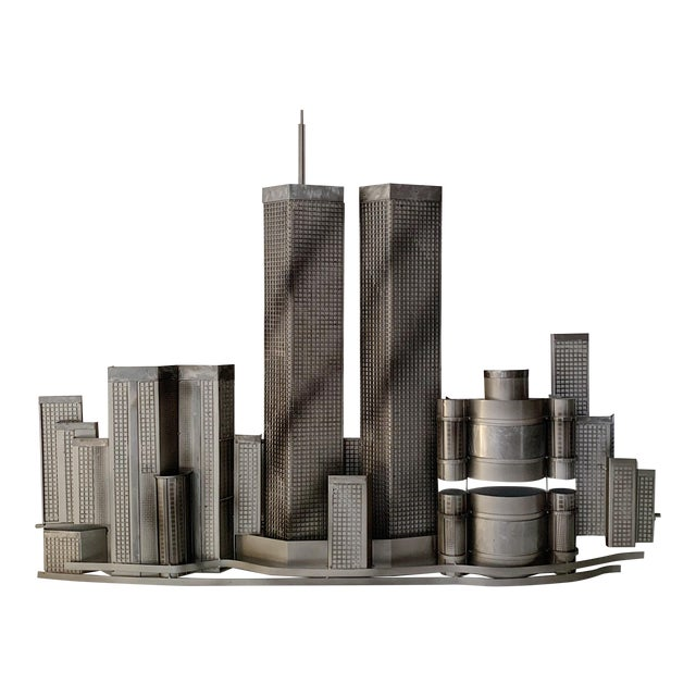 Curtis Jere World Trade Center Twin Towers Metal Wall Sculpture For Sale