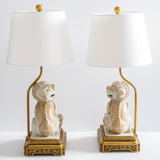 Asian Foo Dog Porcelain Table Lamps on Bronze Stands, A-Pair For Sale - Image 10 of 13