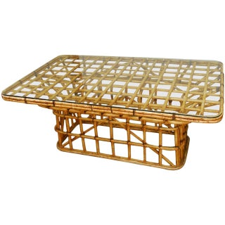 Mid-Century Architectural Bamboo Rattan Dining Table For Sale