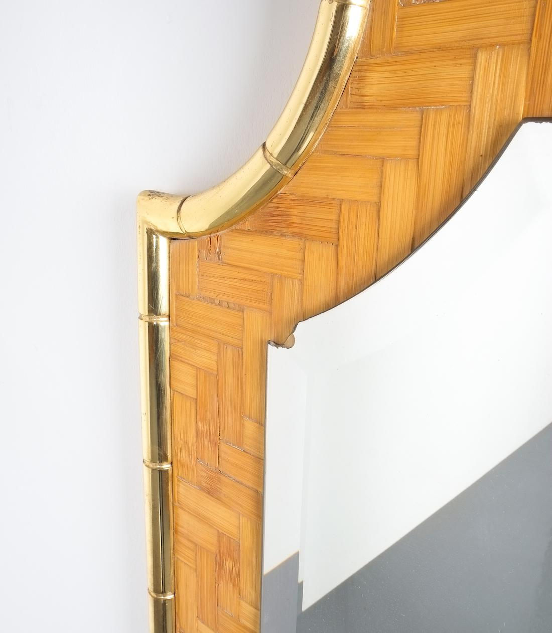 Bamboo Brass Console Table And Mirror Manner Gabriella Crespi, Italy 1950    Image 9 Of